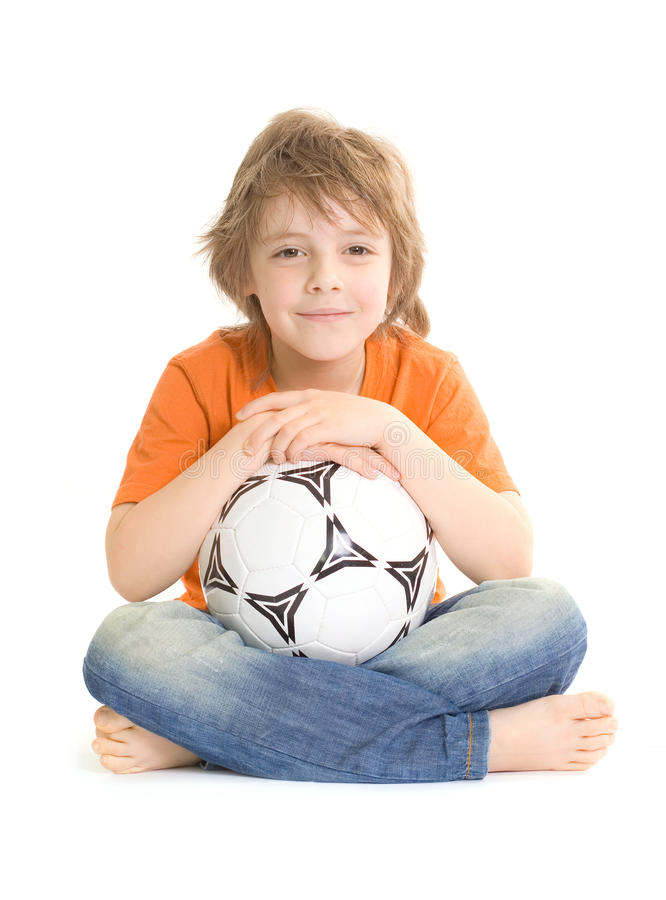 Download Cute boy with soccer ball stock photo. Image of smile - 13995682