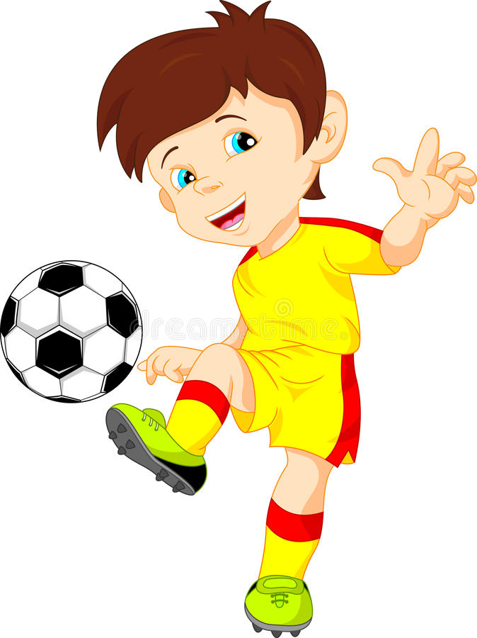 Cute boy soccer player stock illustration