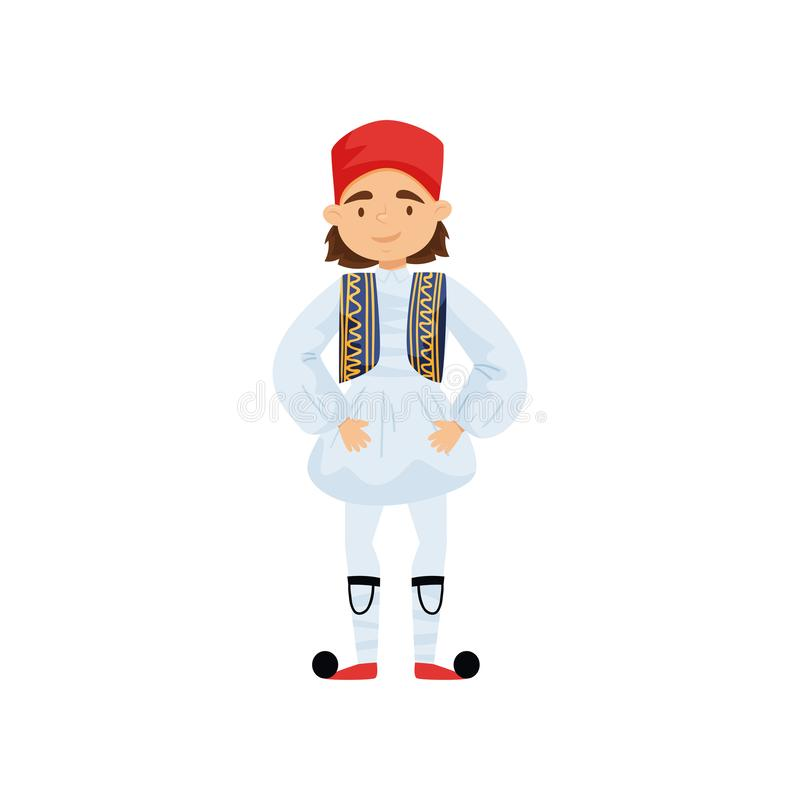 Cute boy in traditional Greek costume. Smiling kid wearing national clothes. Colorful flat vector design stock illustration