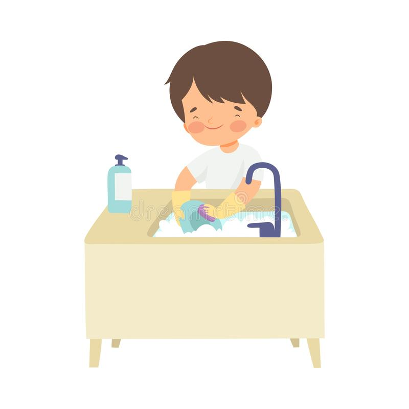Cute Boy Washing Dishes, Adorable Kid Doing Housework Chores at Home Vector Illustration. On White Background royalty free illustration