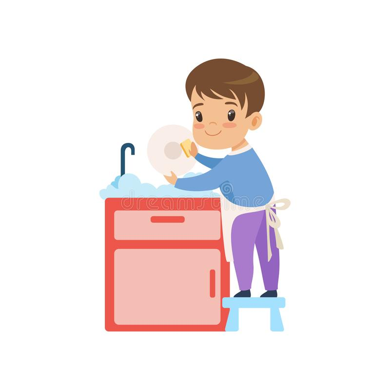 Cute Boy Washing Dishes, Kid Helping With Home Cleanup Vector Illustration. On White Background royalty free illustration