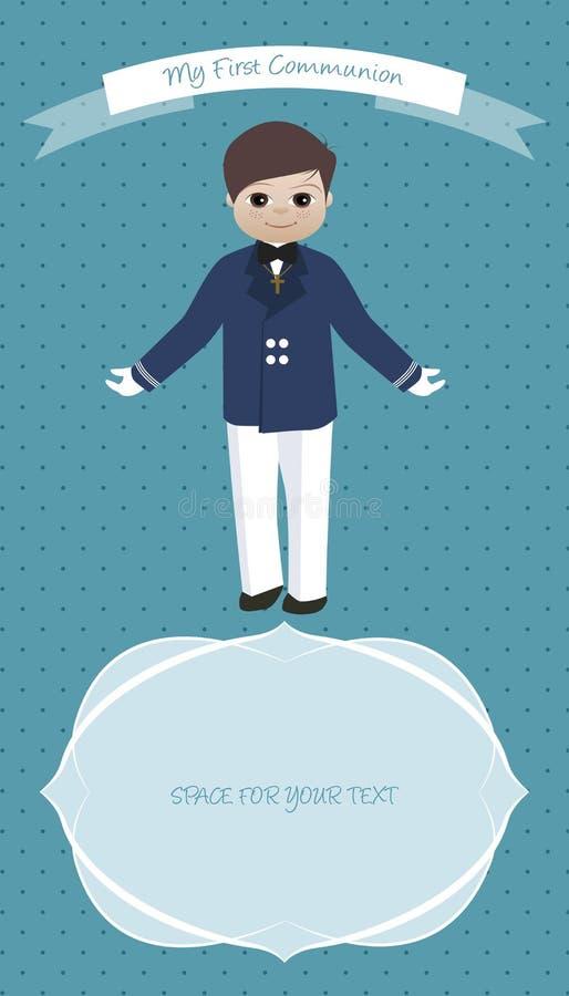 Cute boy wearing celebration clothes. My first communion celebration reminder. vector illustration
