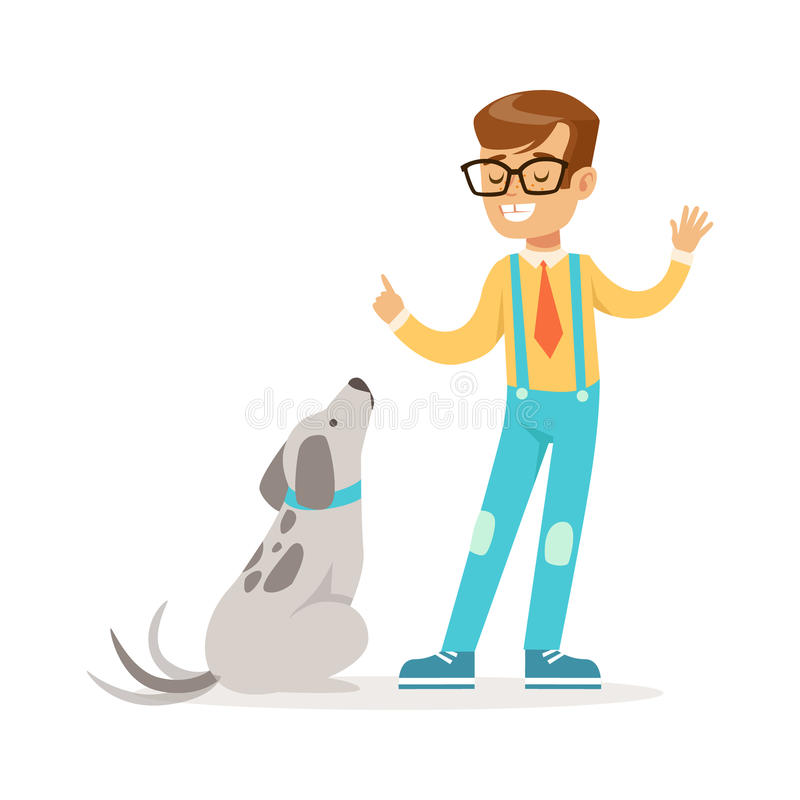 Cute boy wearing glasses teaching his dog. Colorful cartoon character vector Illustration. Isolated on a white background stock illustration