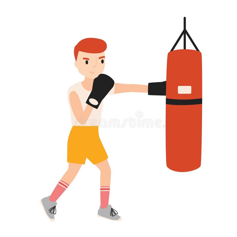 Cute boy or young boxer dressed in sportswear training with punching bag isolated on white background. Boxing workout royalty free illustration