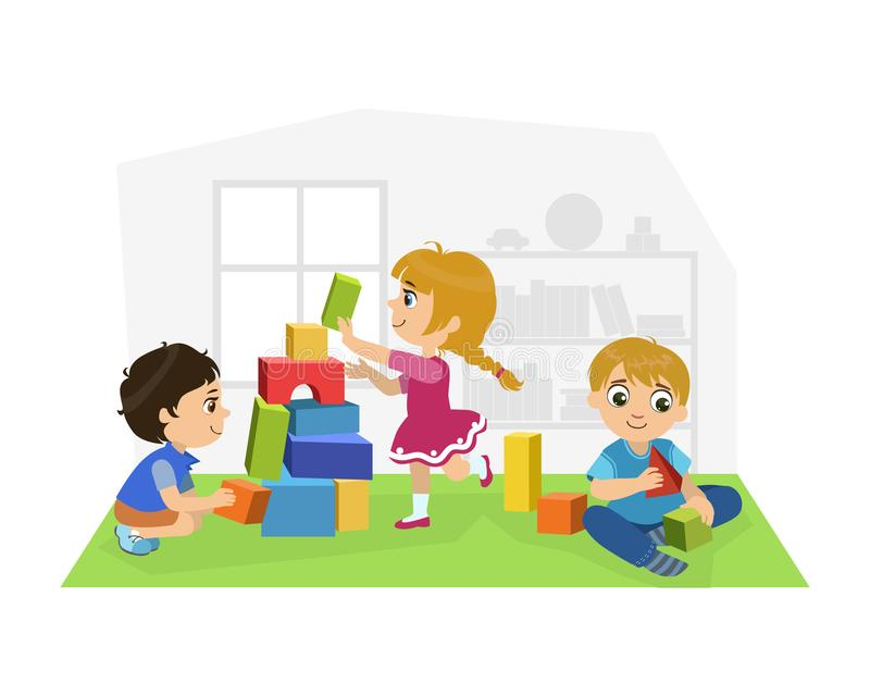 Cute Boys and Girl Sitting on Floor and Playing with Blocks in Playroom, Kids Kindergarten Activities Vector. Illustration, Web Design vector illustration