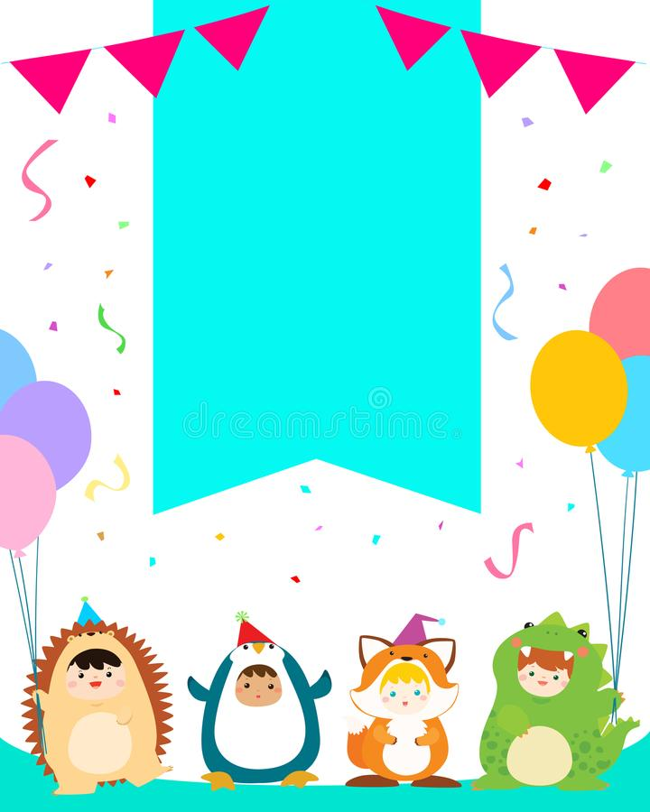 Cute boys and girls in animal costumes for kids party template v. Cute boys and girls in animal costumes for kids party colorful template vector illustration stock illustration