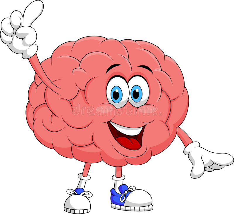 Cute brain cartoon character pointing. Illustration of Cute brain cartoon character pointing royalty free illustration