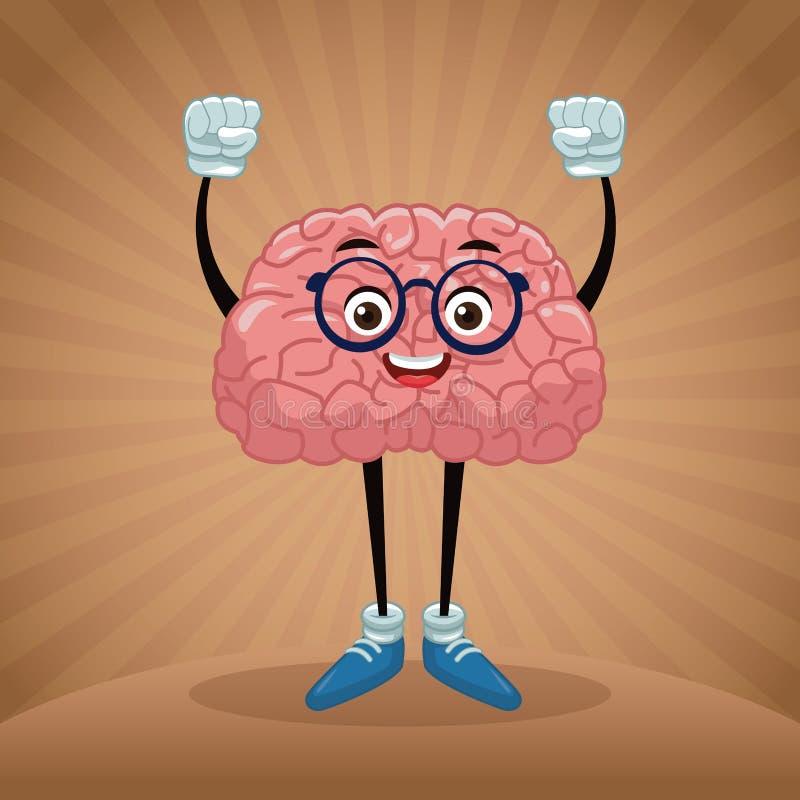 Cute brain cartoon stock illustration