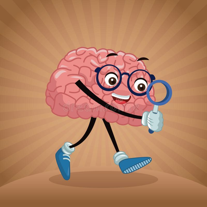 Cute brain cartoon vector illustration