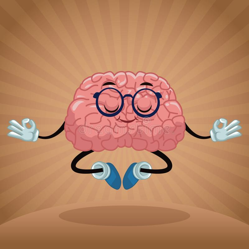 Cute brain cartoon royalty free illustration