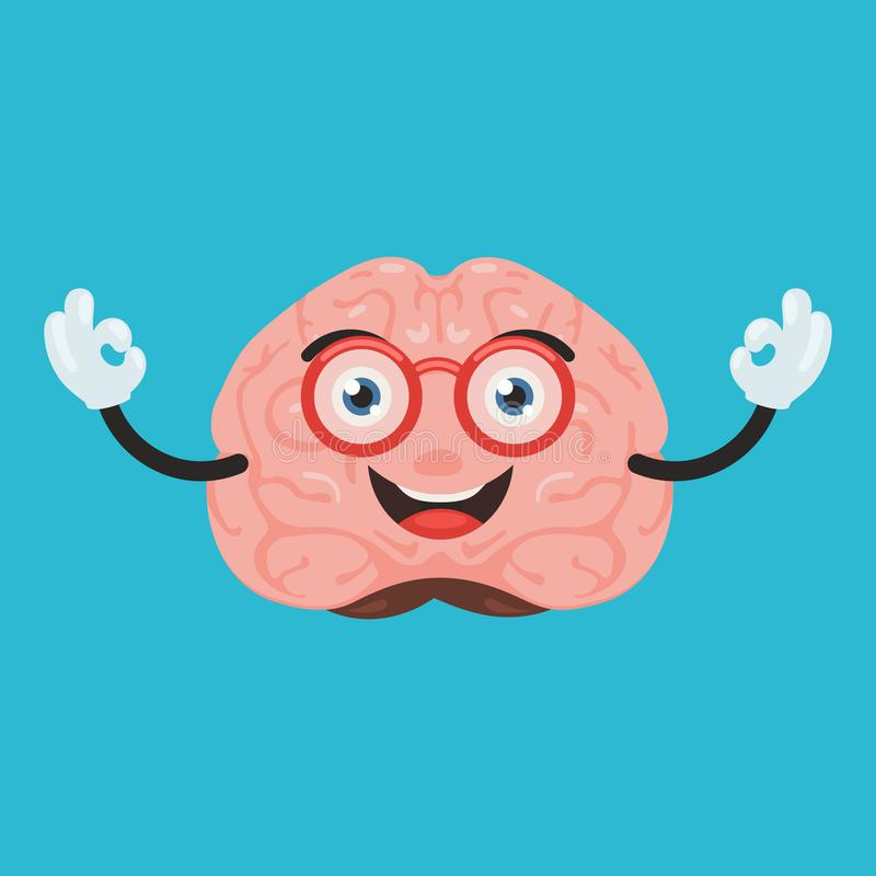 Cute brain character. Funny happy brain character show hand sign ok. Cute human internal organ sign. Vector illustration in cartoon style vector illustration