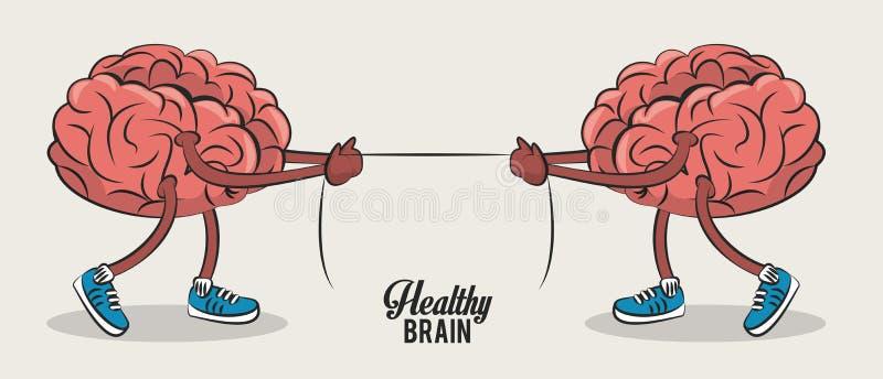 Cute brains cartoons vector illustration