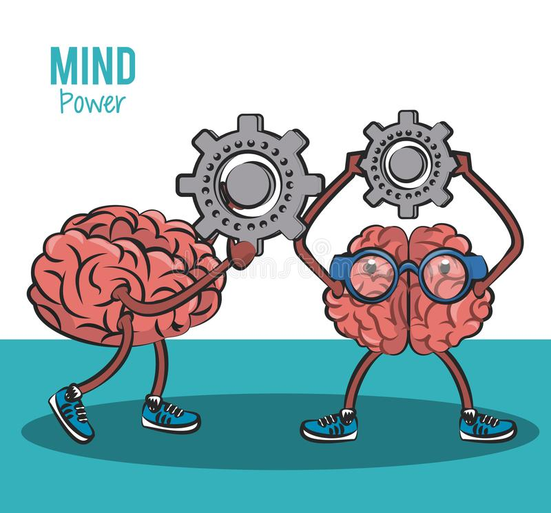 Mind and brain power concept stock illustration