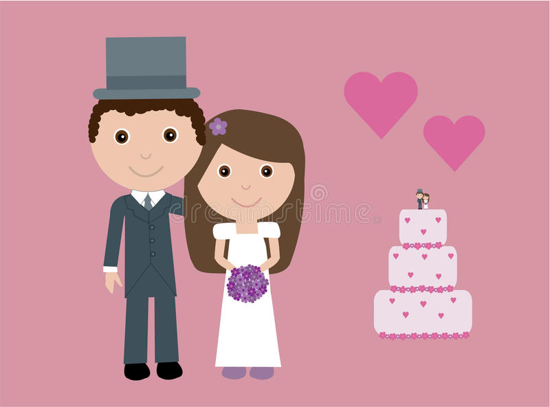 Cute bride and groom vector illustration