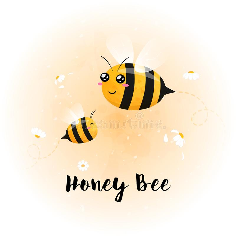 Cute bright baby bee watercolor royalty free stock image