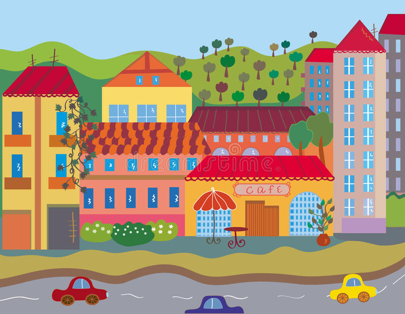 Cute Bright City Stock Images