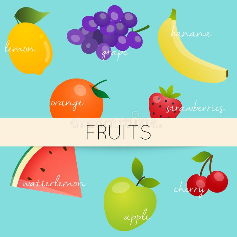 Cute bright colors of fruits vector collections. Healthy organic stock illustration