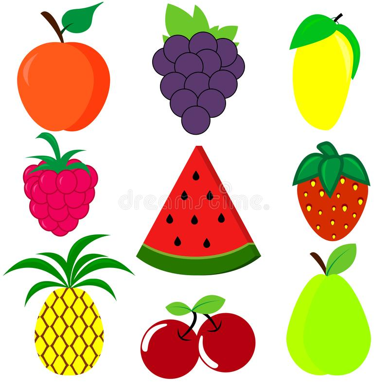 Cute bright colors of fruits vector collections. Set of cartoon fruits vector illustration
