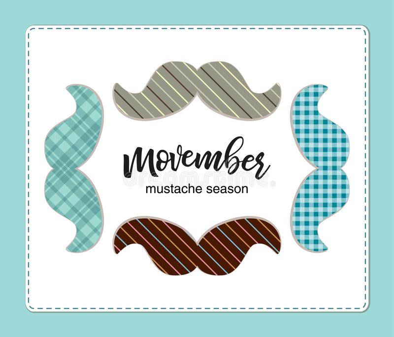 Cute bright different Movember mustaches banner vector illustration