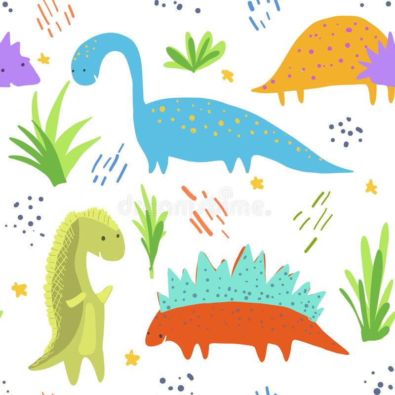 Cute bright dinosaurs pattern for kids textile. Cute bright seamless pattern with sketchy colorful dinosaurs on white background. Childish texture with royalty free illustration