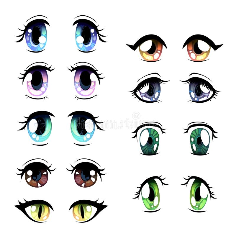 Cute Bright Eyes of Different Colors Set, Beautiful Eyes with Light Reflections Manga Japanese Style Vector Illustration. On White Background stock illustration