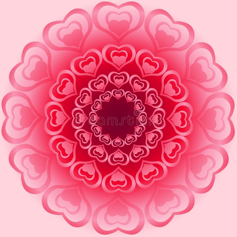 Cute bright ornament for Valentine made from heart shapes in different angles stock illustration
