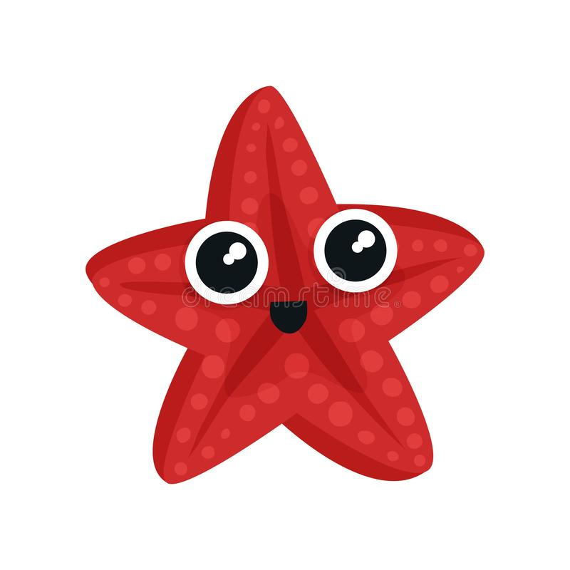 Cute red sea star with big shiny eyes. Adorable marine creature. Small aquatic animal. Flat vector for kids t-shirt vector illustration