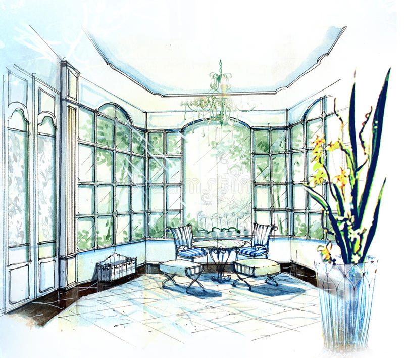 Download Cute Bright Sunlight Tea Room Stock Illustration - Image: 28308023