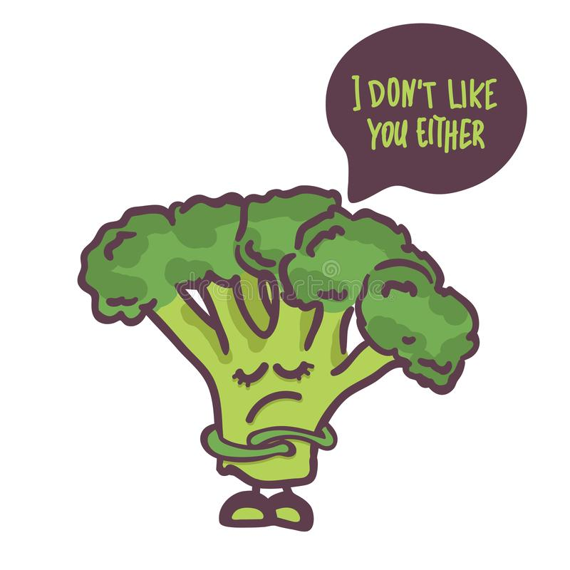 Cute Broccoli cartoon character isolated on white background. Speech bubble i don `t like you either. Vector. for cafe, logo, book vector illustration
