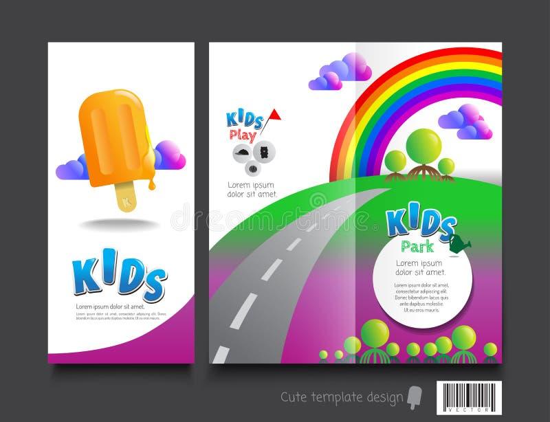 fun brochure templates - cute brochure template design kids concept stock vector