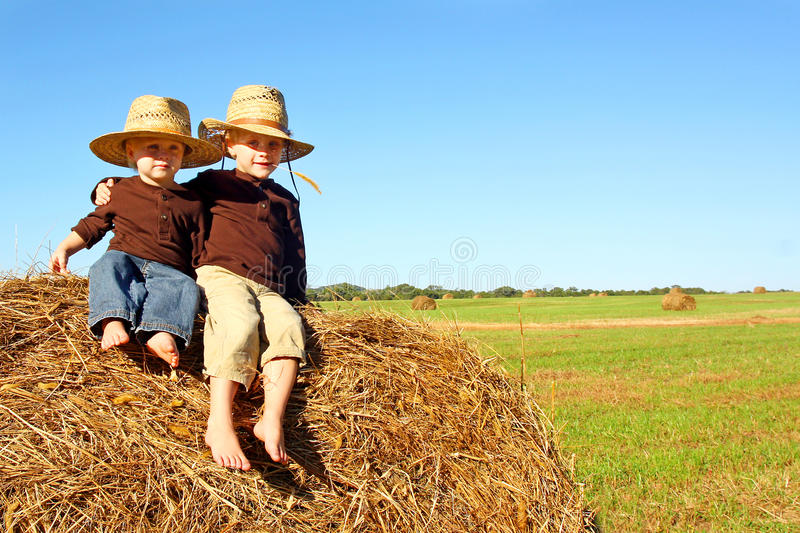 Cute Brothers Outside at Farm stock photos