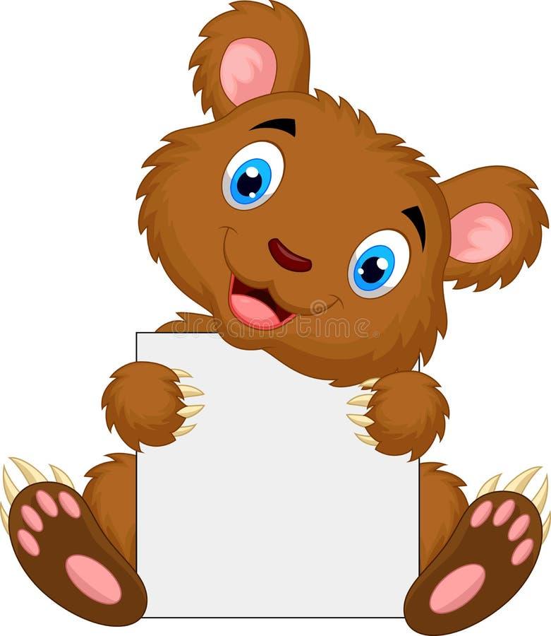 Cute brown bear cartoon holding blank sign vector illustration