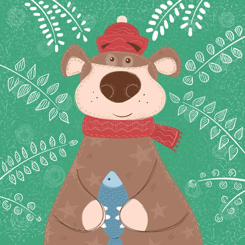Cute brown bear with fish vector illustration