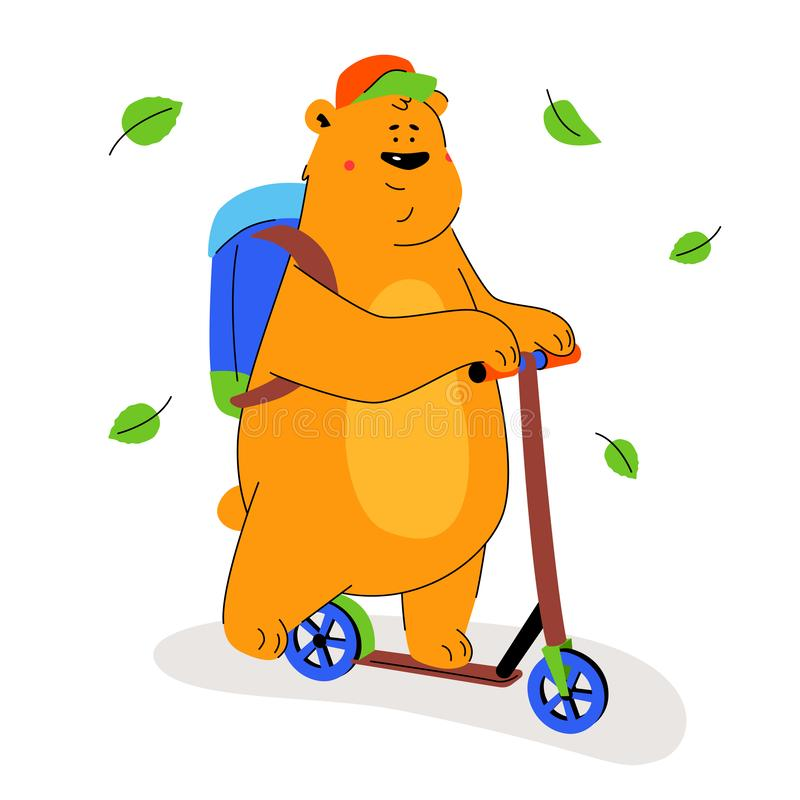 Cute brown bear on a scooter - flat design style illustration royalty free illustration