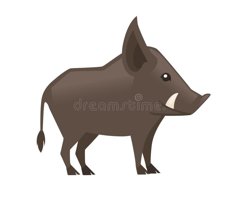 Cute Brown boar. Warthog character with fangs. Cartoon animal design. Flat  illustration isolated on white background. stock illustration