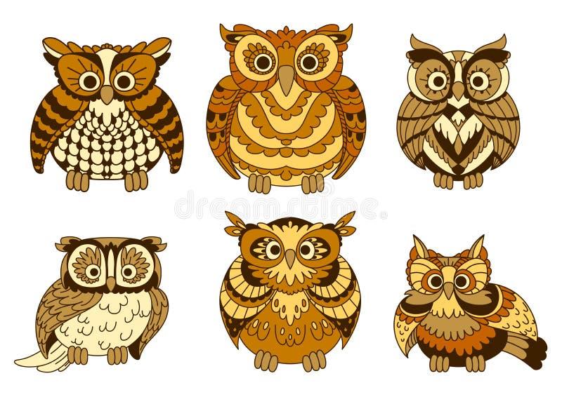 Cute brown cartoon owls birds royalty free illustration