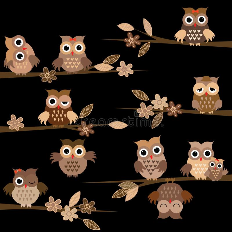 Cute brown cartoon owls in the night royalty free illustration