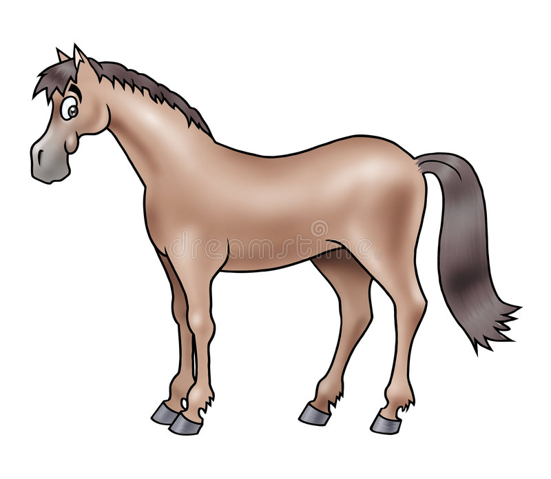 Cute brown horse vector illustration