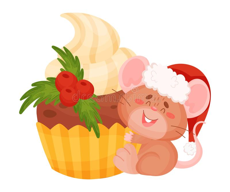 Cute brown mouse with a huge cupcake. Vector illustration on a white background. stock illustration