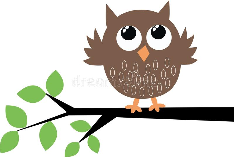 A cute brown owl stock illustration