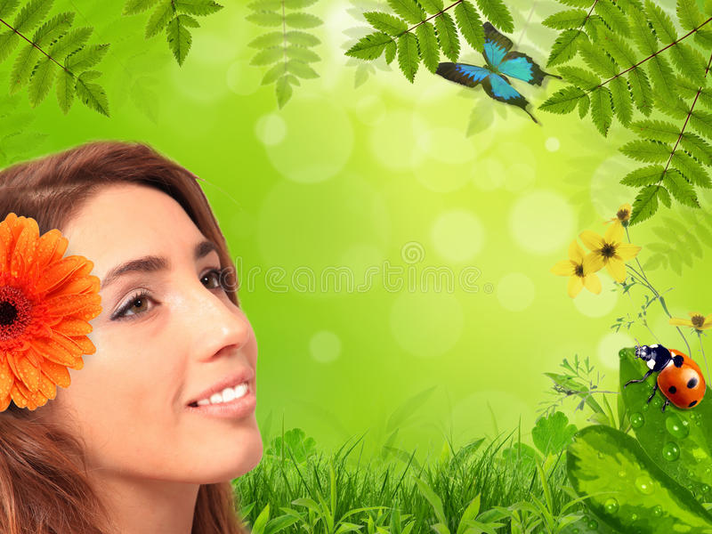 Download Cute brunet girl stock photo. Image of insect, leaf, health - 18576378