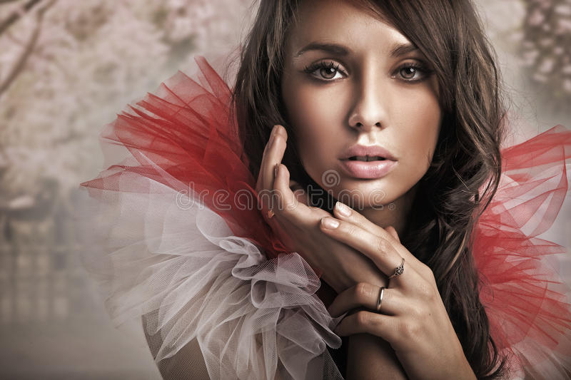 Download Cute brunette stock photo. Image of dress, model, elegant - 16085052