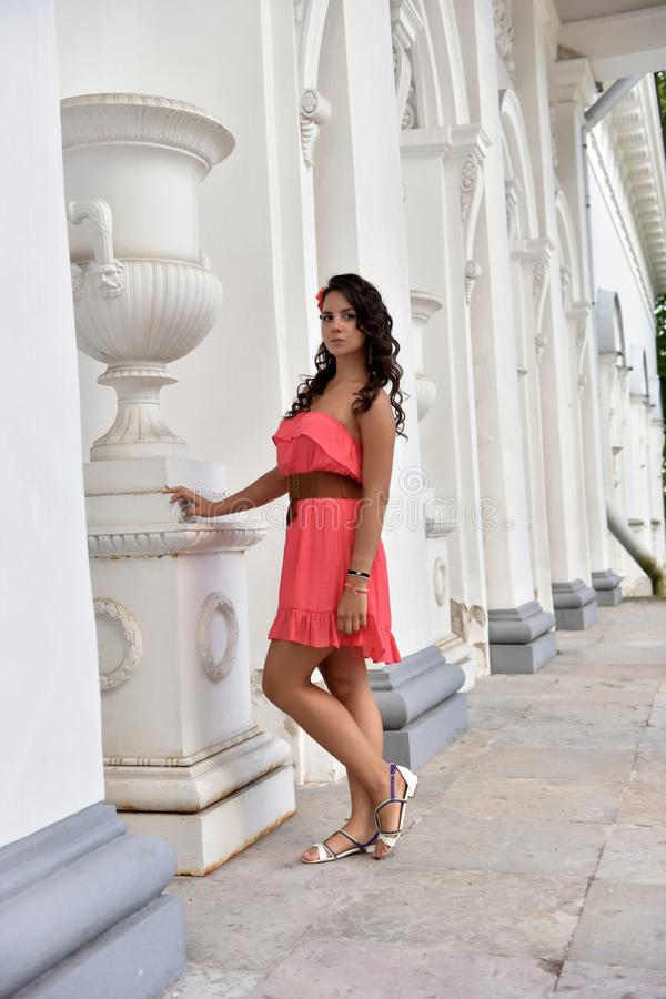 Brunette with curly hair in a pink dress royalty free stock photo