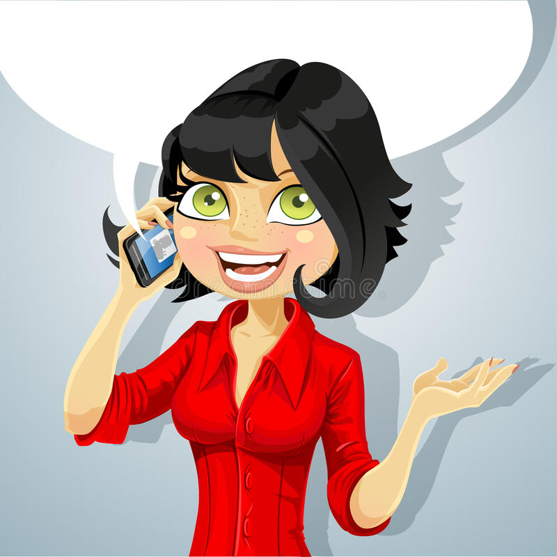 Download Cute Brunette Girl Talking On The Phone Stock Vector - Illustration: 27289397