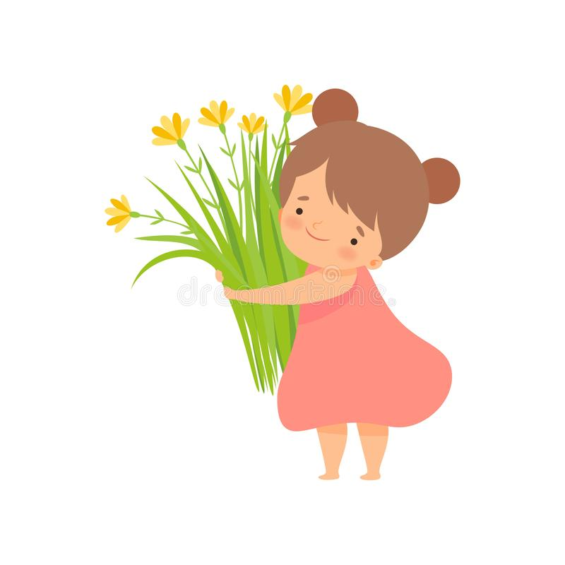 Cute Brunette Little Girl with Bouquet of Meadow Flowers, Adorable Little Kid Cartoon Character Playing Outside Vector. Illustration on White Background vector illustration