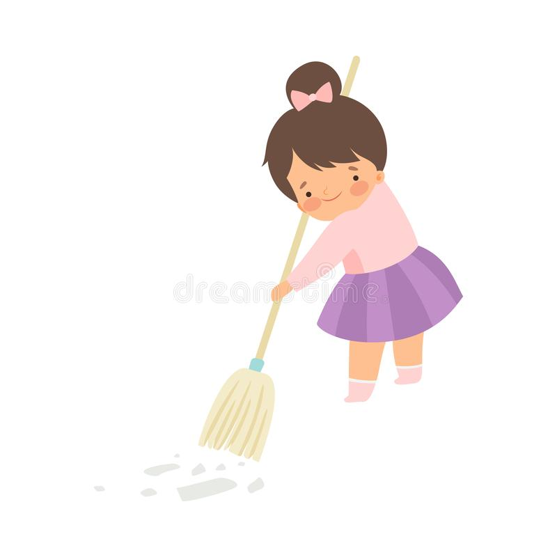 Cute Brunette Little Girl Sweeping the Floor with Broom at Home, Adorable Kid Doing Housework Chores at Home Vector. Illustration on White Background vector illustration