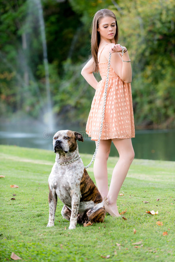 Cute brunette woman with dog, late afternoon. Cute young female poses with dog, late afternoon in the park stock images
