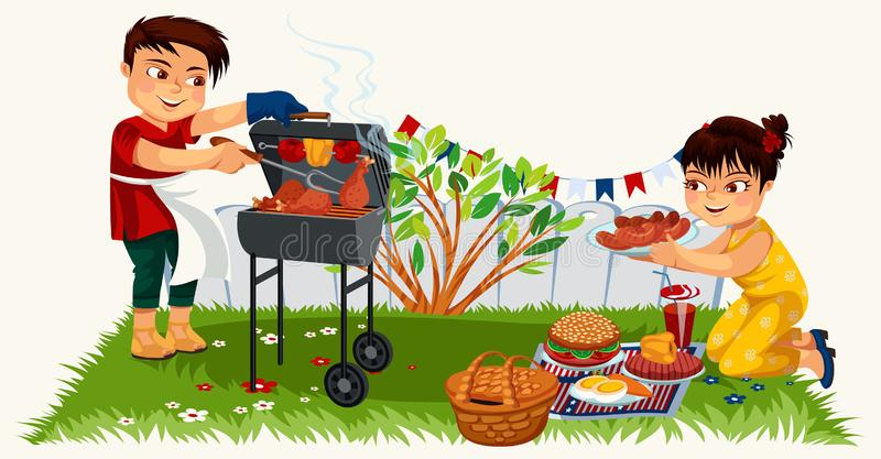 Cute brunette young man cooking on bbq. Cheerful cartoon woman decorating picnic table vector illustration. Nice sunny weather. Family time food and happiness stock illustration