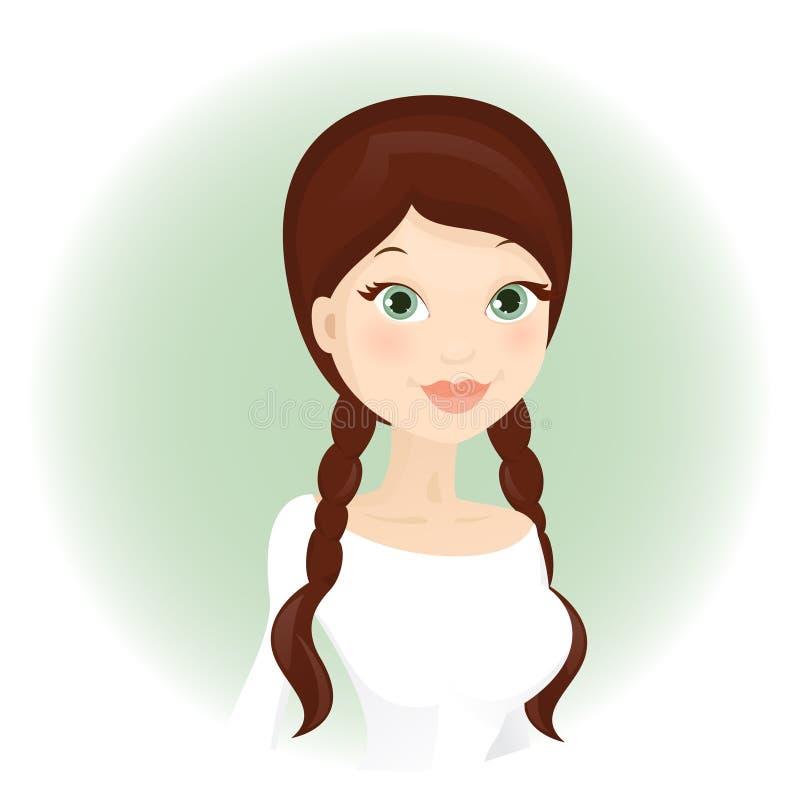 Cute brunnet woman vector illustration