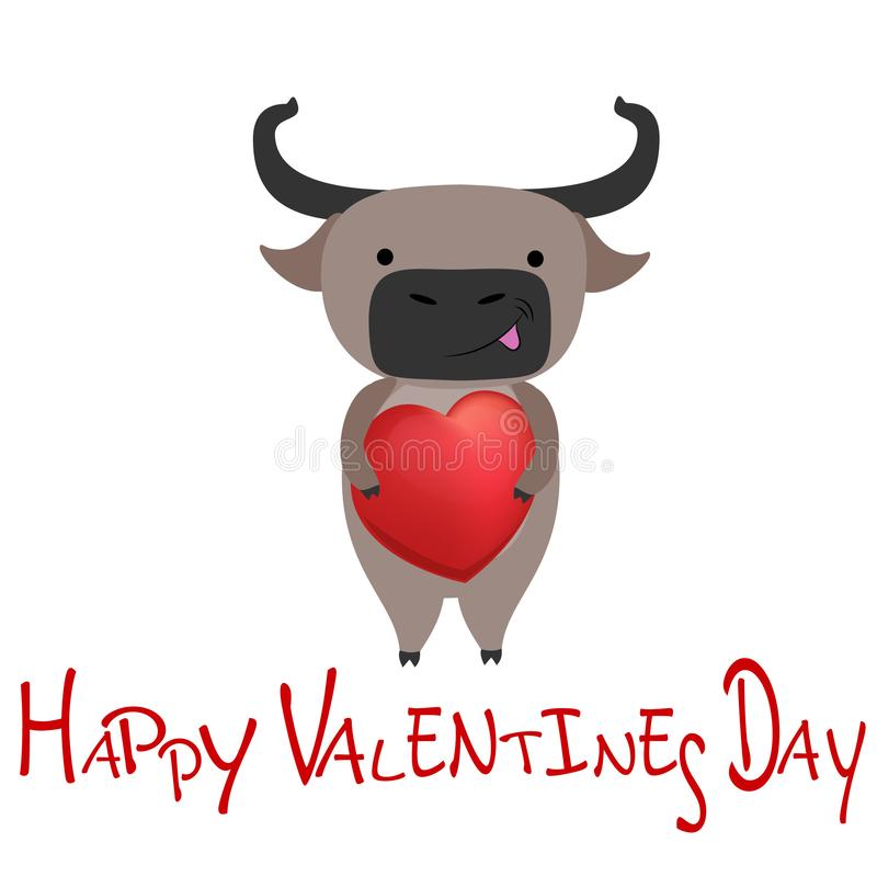 Cute buffalo with heart. Happy Valentines day. Vector illustration. Cute buffalo with heart. Happy Valentines day. Picture nice and funny. Vector illustration stock illustration